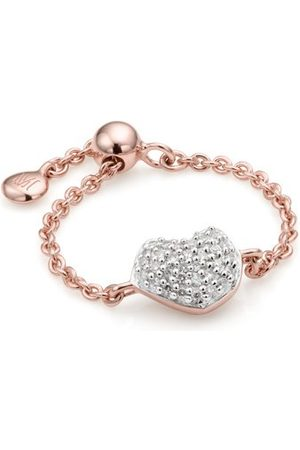 Monica Vinader Women Bracelets - Rose Gold Nura Mini Heart Adjustable Friendship Diamond Ring Diamond