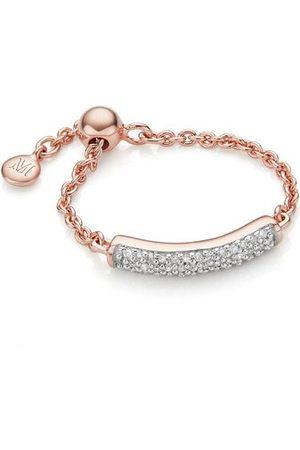 Monica Vinader Rose Gold Fiji Bar Adjustable Friendship Diamond Ring Diamond