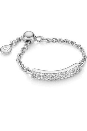 Monica Vinader Sterling Silver Fiji Bar Adjustable Friendship Diamond Ring Diamond