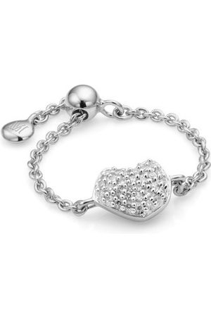 Monica Vinader Sterling Silver Nura Mini Heart Friendship Chain Diamond Ring Diamond