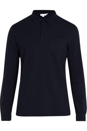 Sunspel Riviera Long-sleeved Cotton Polo Shirt - Mens - Navy