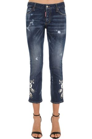Dsquared2 Mirror Embellished Cotton Denim Jeans