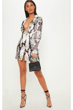 PRETTYLITTLETHING Grey Satin Snake Print Blazer Dress