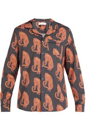 Desmond & Dempsey Men Pajamas - Sansindo Tiger Print Cotton Pyjama Shirt - Mens