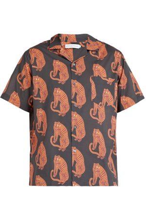 Desmond & Dempsey Sansindo Tiger Print Cotton Pyjama Top - Mens