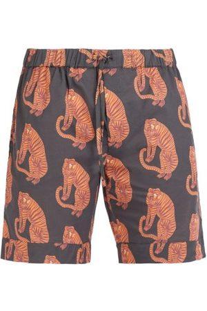 Desmond & Dempsey Men Pajamas - Tiger Printed Pyjama Shorts - Mens