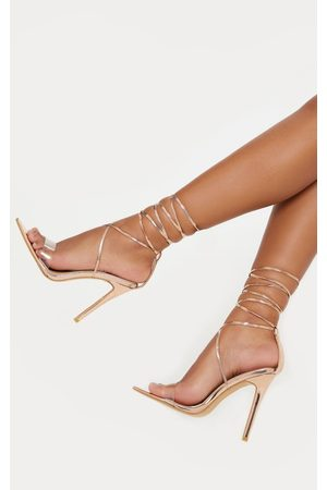 PRETTYLITTLETHING Rose Clear Strap Point Toe Barely there Sandal