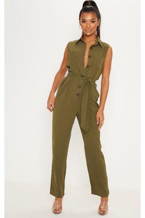 PRETTYLITTLETHING Khaki Tortoiseshell Button Sleeveless Jumpsuit