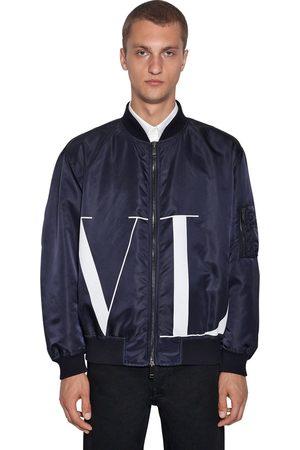 Valentino Logo Print Nylon Bomber Jacket