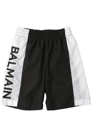 Balmain Logo Printed Nylon Swim Shorts