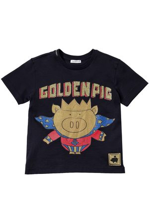Dolce & Gabbana Boys T-shirts - Golden Pig Print Cotton Jersey T-shirt