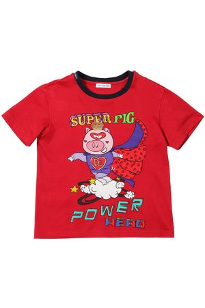 Dolce & Gabbana Boys T-shirts - Super Pig Print Cotton Jersey T-shirt