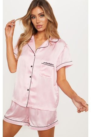 PRETTYLITTLETHING Satin Pocket Pyjama Set