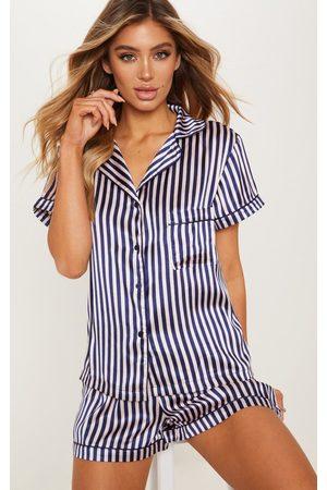 PRETTYLITTLETHING Women Pajamas - Nude & Navy Striped Button Up Short PJ Set