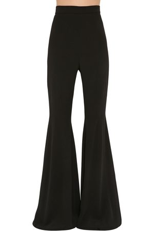 Balmain High Waist Flared Crepe Pants