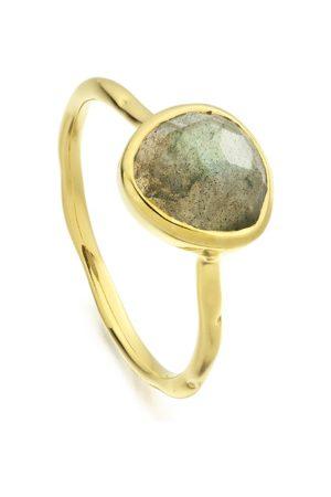 Monica Vinader Siren Labradorite Stacking Ring, Gold Vermeil on Silver