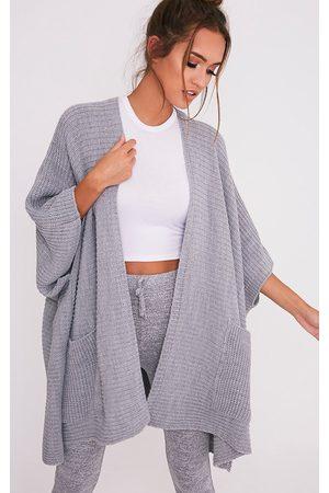 PRETTYLITTLETHING Yazmine Grey Chunky Knit 3/4 sleeve Wrap Cardigan