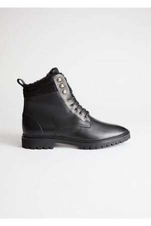 & OTHER STORIES Leather Lace Up Snow Boots