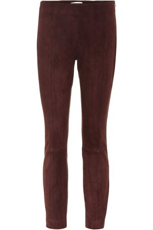 The Row Women Leather Pants - Suede skinny pants