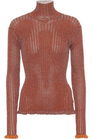 Chloé Women High Necks - Ribbed metallic turtleneck top