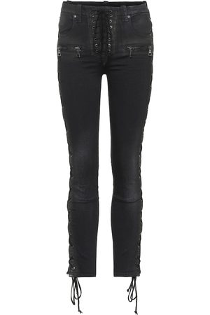 UNRAVEL Lace-up skinny jeans