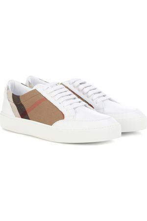 Burberry House Check leather-trimmed sneakers