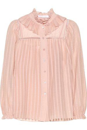 Chloé Ruffled cotton-blend blouse