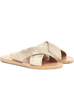 Ancient Greek Sandals Women Sandals - Thais sequined leather slides