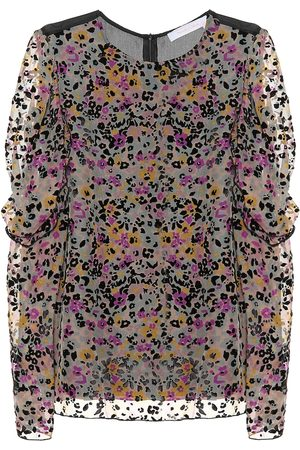 Chloé Women Shirts - Flocked velvet printed silk top