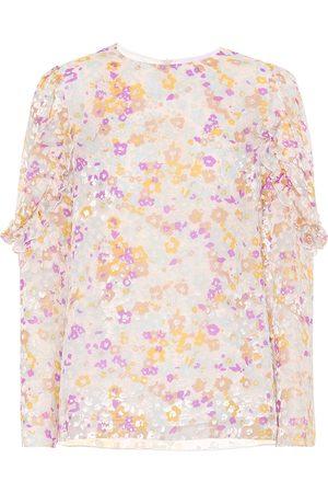 Chloé Flocked velvet printed silk top