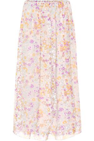 Chloé Flocked velvet printed silk skirt