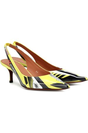 Vetements Race patent leather slingback pumps