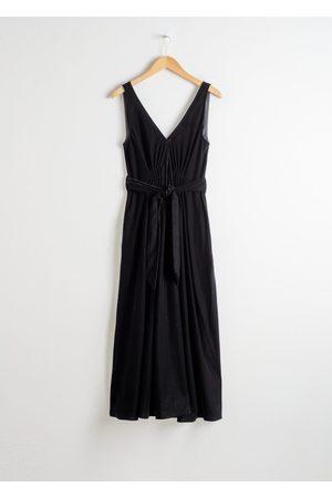 & OTHER STORIES Belted Velvet Midi Dress