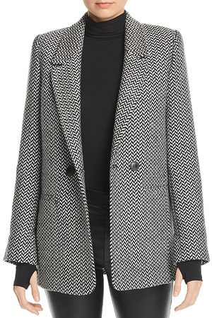ANINE BING Herringbone Double-Breasted Blazer