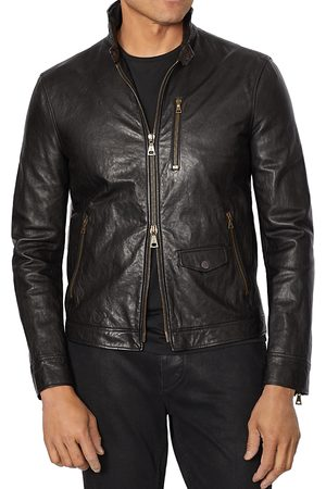 John Varvatos Garment-Wash Slim Fit Leather Jacket