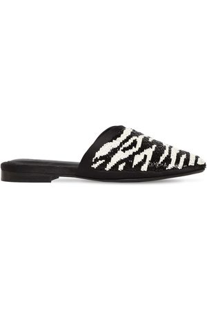 ZYNE 10mm Zebra Beaded Leather Mules