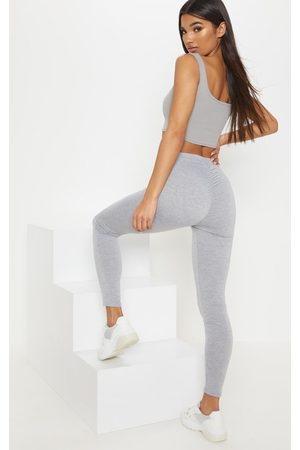 PRETTYLITTLETHING Grey Marl Ruched Back Jersey Legging