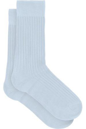 Pantherella Danvers Ribbed-knit Cotton-blend Socks - Mens