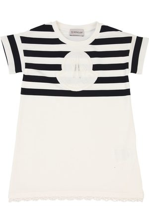 Moncler Girls Casual Dresses - Striped Cotton Jersey Dress W/logo Patch