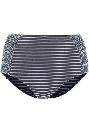 JONATHAN SIMKHAI High-waisted striped bikini bottoms