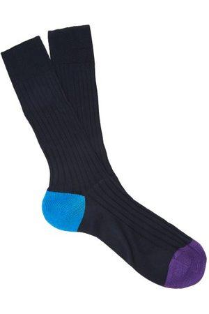 Pantherella Portbello Ribbed-knit Socks - Mens - Navy