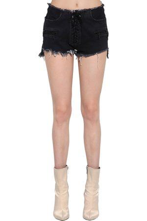 UNRAVEL Lace-up Cotton Denim Shorts