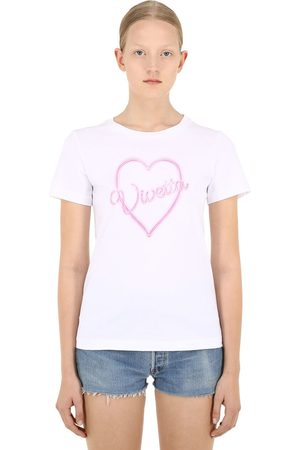 VIVETTA Logo Heart Print Cotton T-shirt