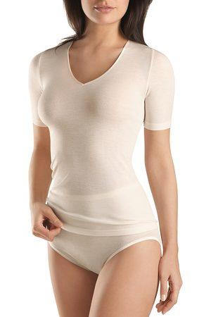 Hanro Woolen Silk Short Sleeve V-Neck Top