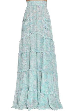 LUISA BECCARIA Women Printed Skirts - Long Floral Print Georgette Skirt
