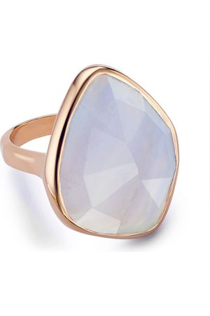 Monica Vinader Rose Gold Siren Nugget Cocktail Ring Blue Lace Agate