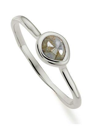 Monica Vinader Women Rings - Sterling Silver Siren Small Stacking Ring Labradorite