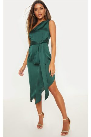 PRETTYLITTLETHING Emerald Satin One Shoulder Tie Waist Asymmetric Hem Midi Dress