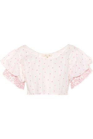 LOVESHACKFANCY Christine off-the-shoulder cotton top