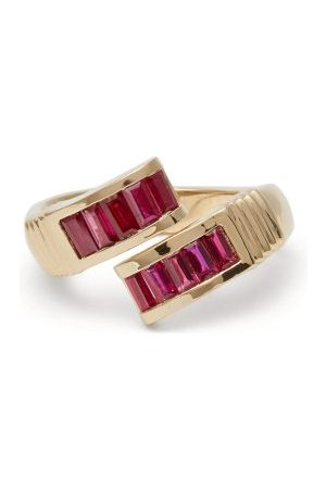 Retrouvai Wrap Ruby & Gold Ring - Womens